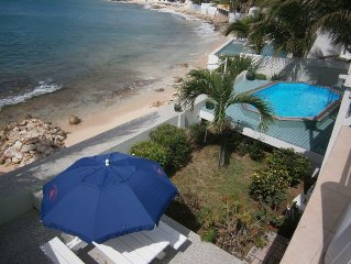 Beachfront villa on Sint Maarten with pool. 3BR, 3 bath. Reduced rates for 2017