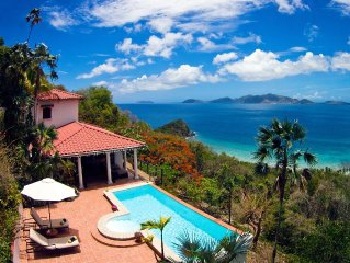 Most Romantic Tortola Villa, Stylish and Secluded with pool