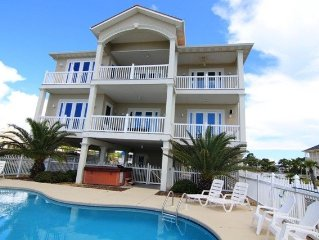 7 Bedrm/Pool/Hot Tub - East End GULF FRONT 5 King Masters, sleeps 25