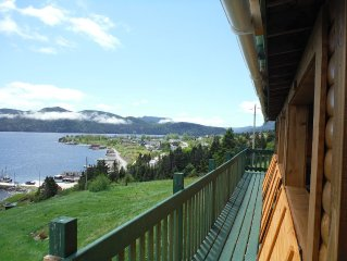 Rustic Log Style Home Overlooking Bonne Bay & Gros Morne Mountain.