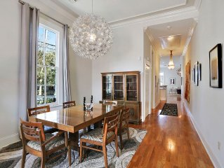 Formal dining area with vintage dining room set.