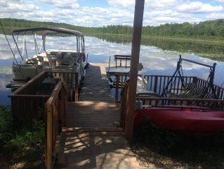 Brand New Cottage W/NEWER PONTOON BOAT Included in rent.  Right on the water.
