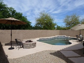 HUGE gas-heated pool, firepit, 4 bedrooms, 5 HD tv's & DVR's, only 1 neighbor