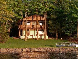Lakefront Cabin -- Prime Location, Large Yard, Private Beach, Dock, Covered Deck