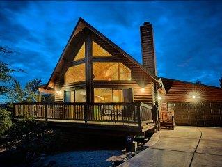 New Listing! Stunning Log A-Frame Cabin Chalet. 360 views. Hot tub!