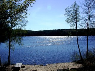 Quiet lakefront home with private beach near Bridgton, ME