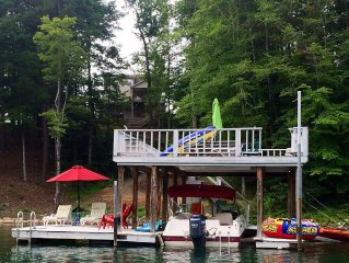Lake House with Double Decker Dock and kayaks.