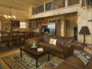 Great cabin with BIG specials!  Luxury and cozy in one place!  Go explore!