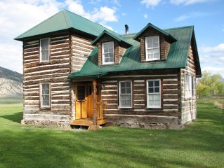 Historic 2 Story Hand-Hewn Log Cabin Next to Yellowstone Park