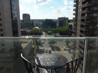 Relax and enjoy the beautiful view of Saskatoon downtow business district