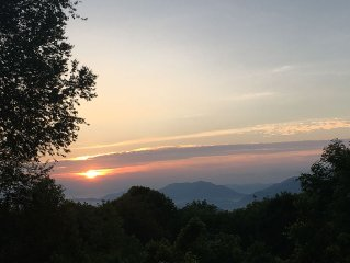 Mountaintop Oasis: 4K Elev, Multi-ridge Views, Paved Access, 2 Story Stone FP
