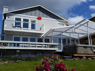 Watch for whales from house, deck, hot tub or fire pit!  Awesome beach house.
