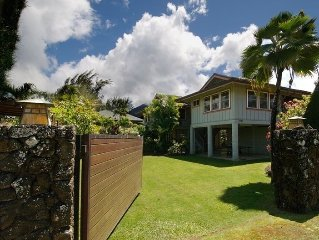 Beautiful home on spacious lot in Hanalei across from the beach and Hanalei Pier