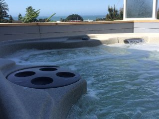 Ocean View House, Walking distance to Beach, with Outside Hot Tub and Back Yard.