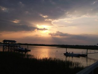 Deep Water View with Dock, Pool, Sauna, Steam, Walk to Beach, Sunsets Amazing!