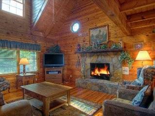 Real Log Cabin with Great Views on Secluded Mountain Site