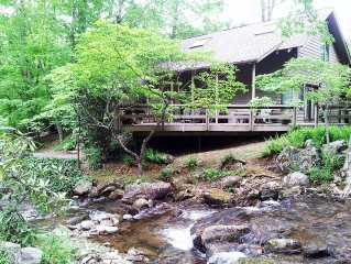 CREEK- FRONT LOG CABIN JUST  STEPS FROM THE PIGEON RIVER NEAR WAYNESVILLE, NC