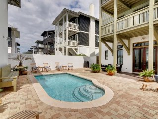 Newly renovated home with pool overlooking Rosemary tennis club-  walk to beach!