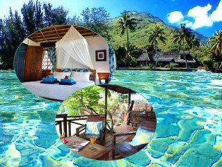 Poerani Moorea: Beautiful Polynesian Bungalow Facing The Lagoon - Up To 4 Pers.