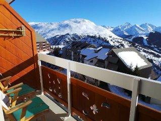 Appartement au pied des pistes avec chambre indépendante, vue sur la montagne