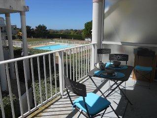 Lumineux appart ds résidence sécurisée avec piscine proche plage
