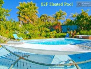 82o Heated Pool/Spa! Family & Pet Friendly 4BR Beach/Village Eco-friendly Home!!