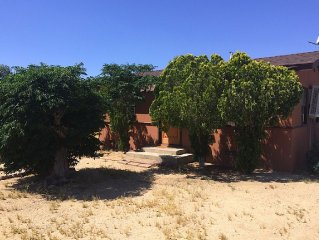 Our cute two bedroom cottage is just 6 blocks from downtown Joshua Tree!