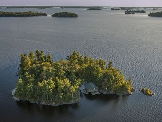 Remote wilderness island with comfortable fishing cabin