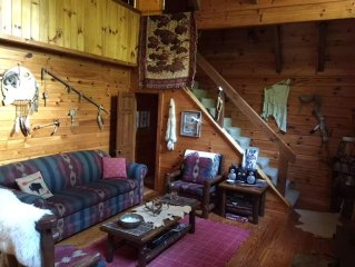 American Indian Decorated Log Cabin On Toccoa River Awaits Your Arrival!