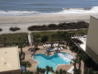 Myrtle Beach 2 Bedroom Ocean View Condo, Arcade, Sauna, WIFI, indoor pool!