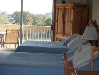2nd Floor Studio,  Private Deck with distant Water View