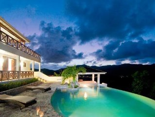 New Caribbean style villa with large private infinity pool and stunning views