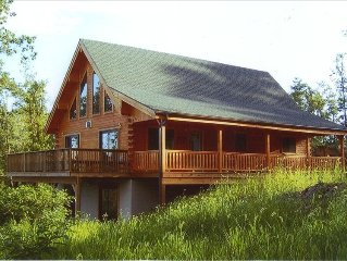Amish-Built Log Home with 50-Mile View in Pocono Ski/Raft Area