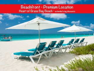 Oceanfront 2 BR Condo, Heart of Grace Bay Beach