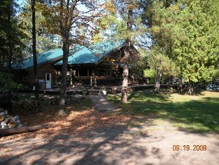 Historic Lakefront Cedar Log Cabin on Wooded 4 Acre Parcel