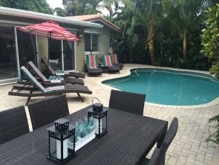 Newly updated and designer furnished resort home with a pool in central location