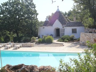 Exclusive 3 Bedroom Trullo with 16m Private Pool, Panoramic View, WiFi and Airco