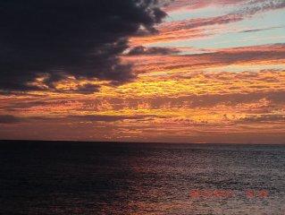 La vue directe de l'appartement au coucher du soleil