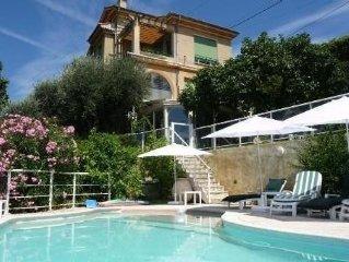 Dans villa sur colline, vue mer, calme, appartement, jardin et piscine prives