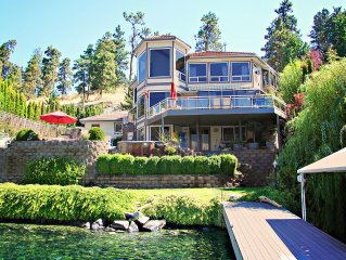 Private, lakefront home with dock, heated pool ,hot tub and game room.