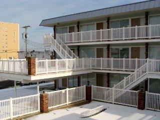 1st Floor condo, beach/boardwalk block, heated pool!  the Lamppost!