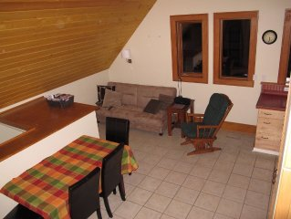One bedroom apartment with loft, close to great skiing and more.