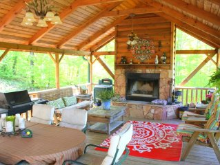 Log Cabin nestled in mountains W/long range views covered decks deck, Ski-Golf F