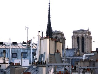 Penthouse apartment Ile Saint Louis, elevator, AC, Great terrace view Notre Dame