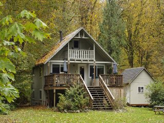 Secluded Eco-Friendly Riverfront Cabin with Hot Tub. Pet Friendly!