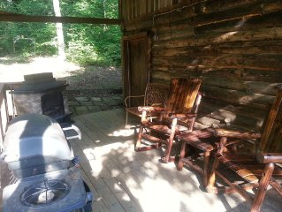 Rustic Log Cabin on 25 Acre Mountain Retreat, Relax with Nature, Pond, & Stream!