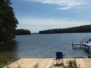 Spacious 3 Level Home right on Big Sebago Lake with private sandy beach