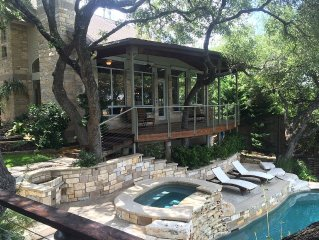 Lake Travis Austin Lakefront house w/ pool, hot tub, dock & optional guest house