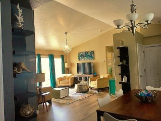 Comfortable, cozy, clean, easy access, walk to parks, grill, movie room, pool
