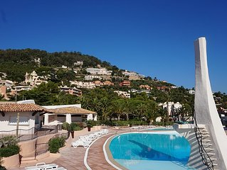 Appartement vue mer acces plage privee direct, piscines,sauna,hamam,tennis etc
